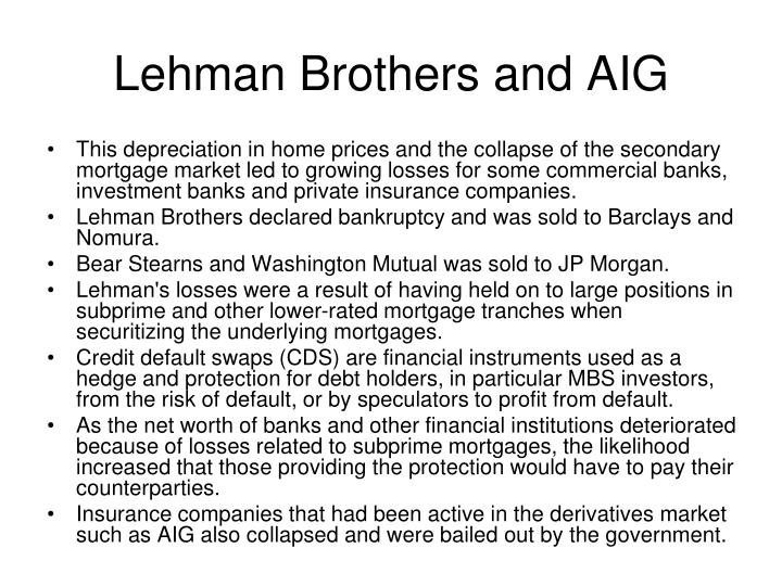 Lehman Brothers and AIG
