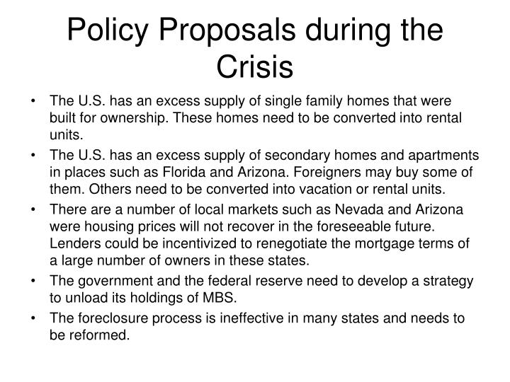 Policy Proposals during the Crisis