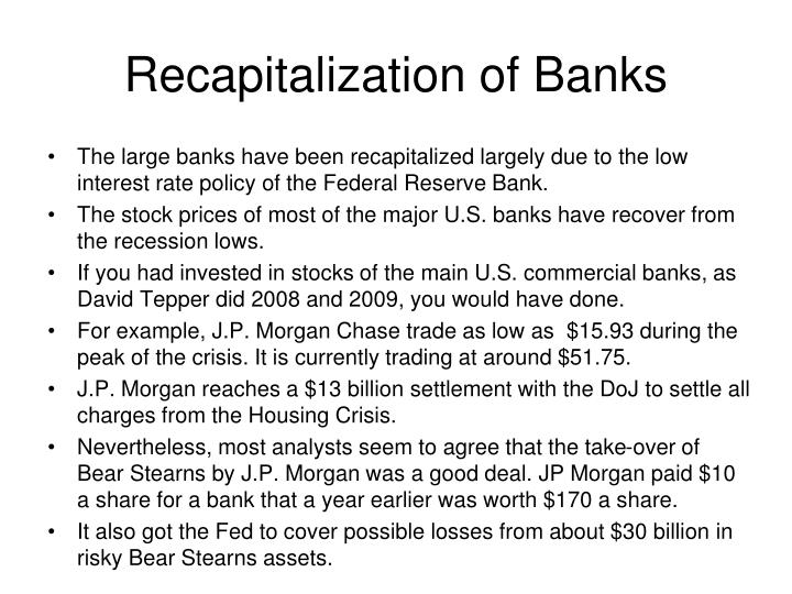 Recapitalization of Banks