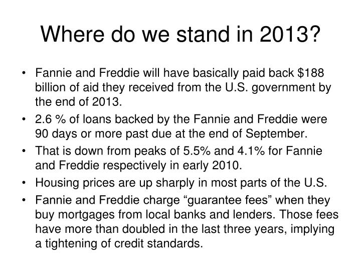 Where do we stand in 2013?