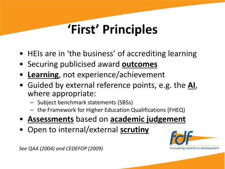 'First' Principles