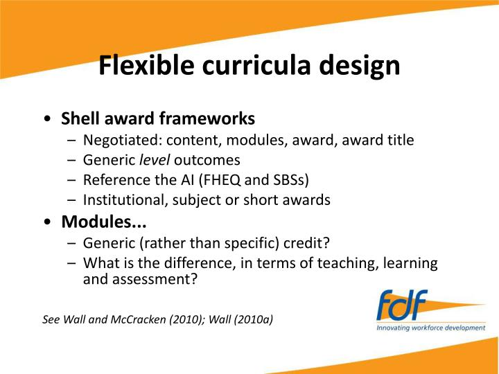 Flexible curricula design