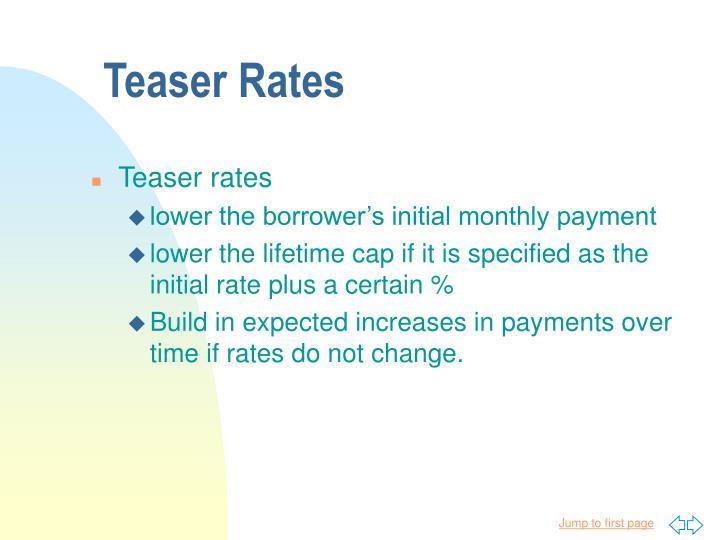 Teaser Rates