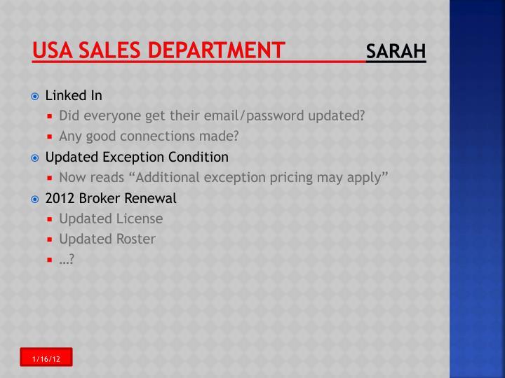 USA Sales Department