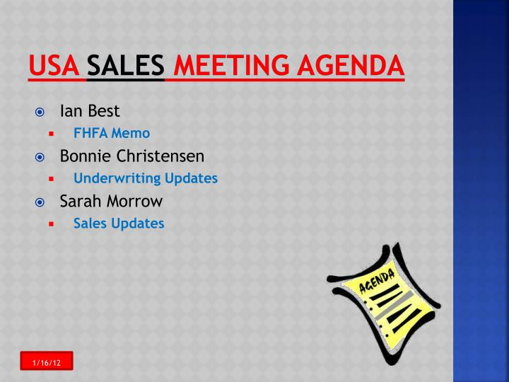 Usa sales meeting agenda