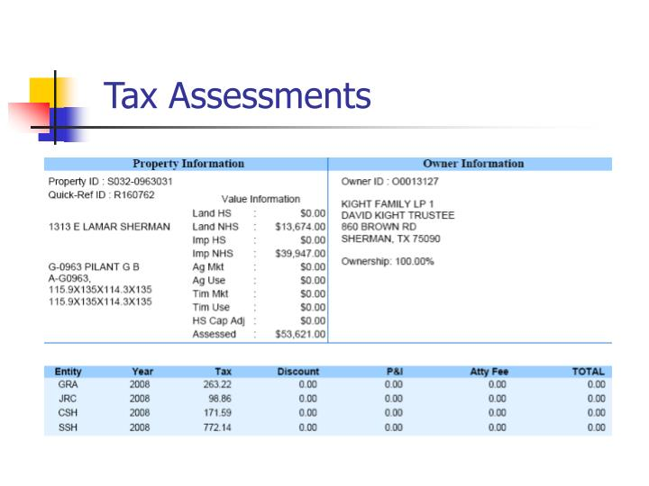 Tax Assessments