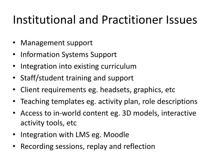 Institutional and Practitioner Issues
