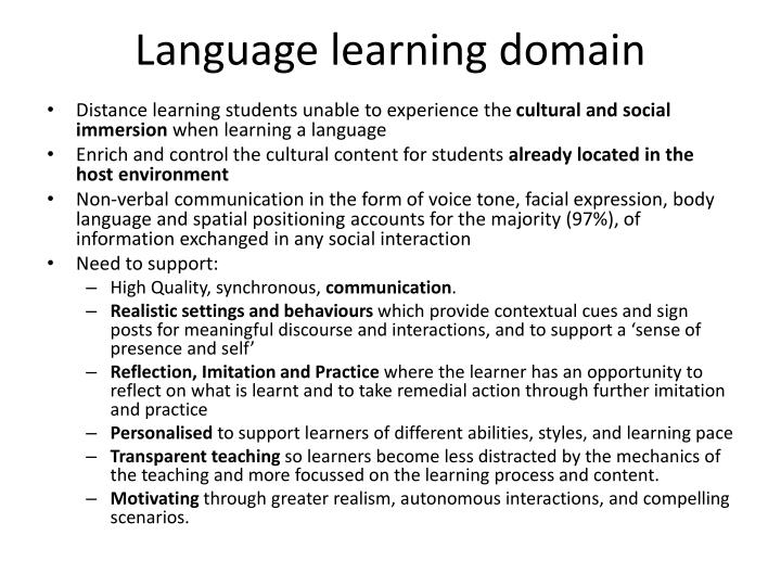 Language learning domain