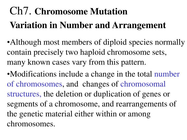 Ch7 chromosome mutation variation in number and arrangement
