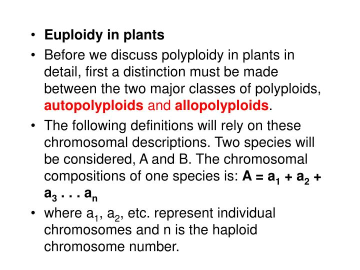 Euploidy in plants