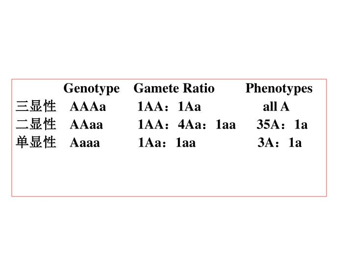 Genotype    Gamete Ratio         Phenotypes