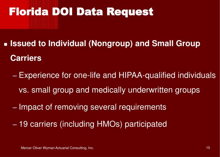 Florida DOI Data Request