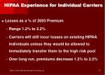 hipaa experience for individual carriers