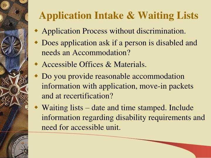 Application Intake & Waiting Lists