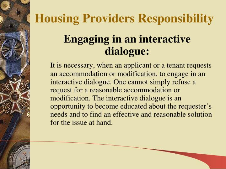 Housing Providers Responsibility