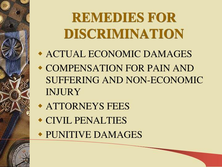 REMEDIES FOR DISCRIMINATION
