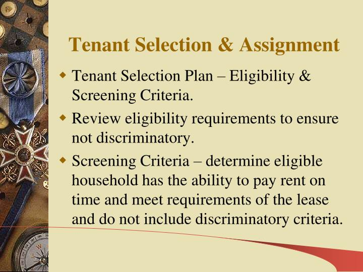 Tenant Selection & Assignment