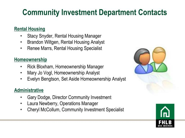 Community Investment Department Contacts