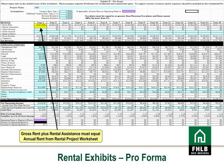 Rental Exhibits – Pro Forma