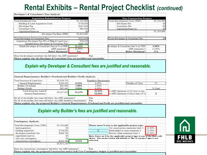 Rental Exhibits – Rental Project Checklist