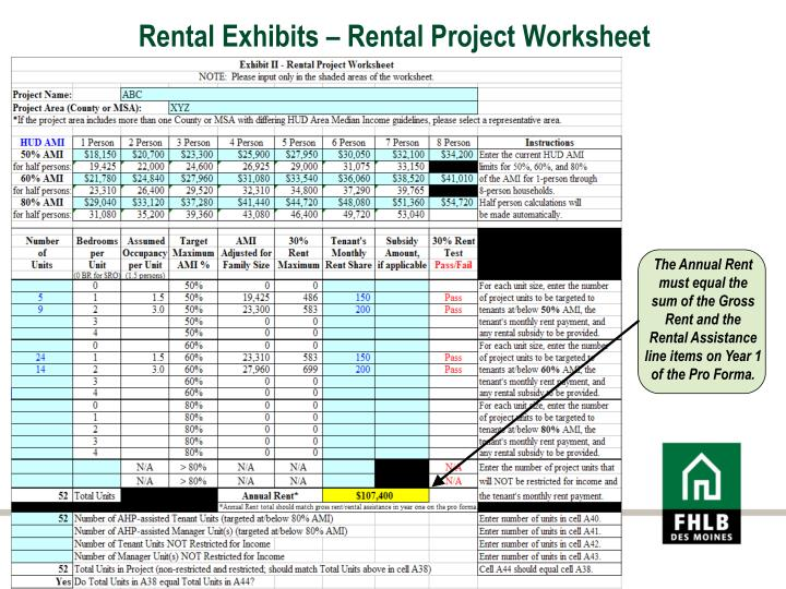 Rental Exhibits – Rental Project Worksheet