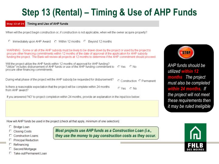 Step 13 (Rental) – Timing & Use of AHP Funds
