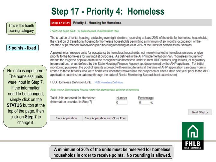 Step 17 - Priority 4:  Homeless