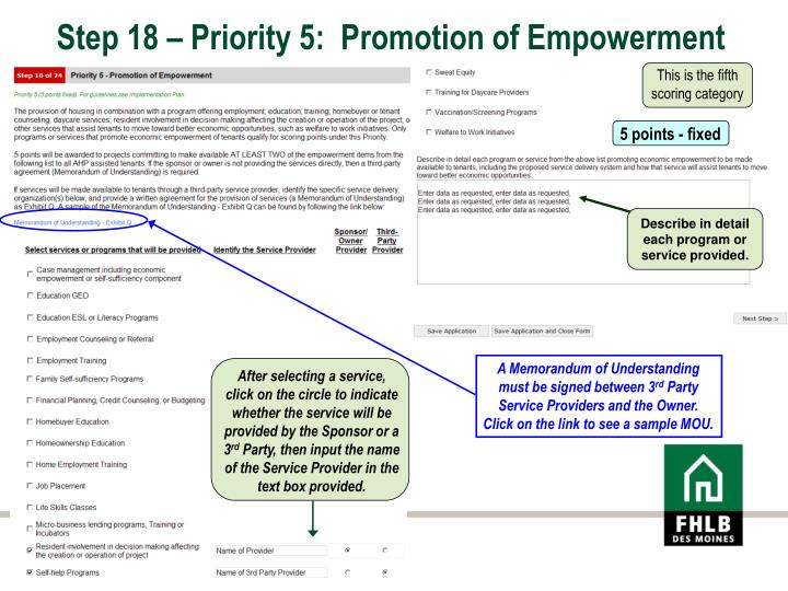 Step 18 – Priority 5:  Promotion of Empowerment
