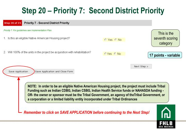 Step 20 – Priority 7:  Second District Priority