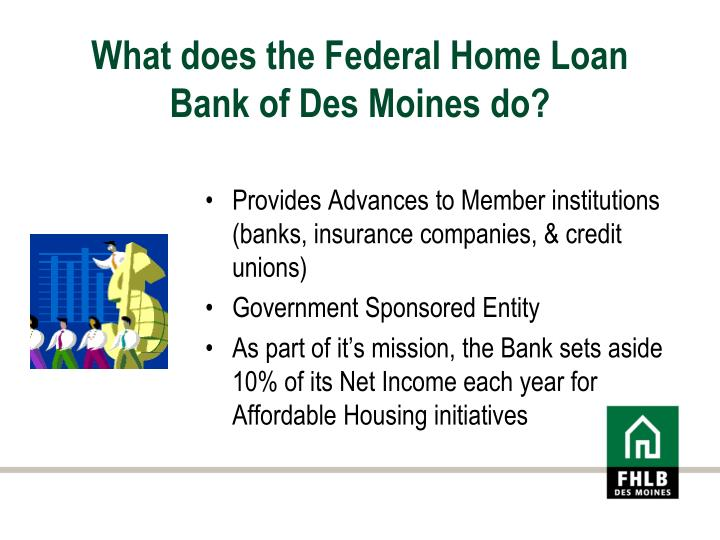 What does the federal home loan bank of des moines do