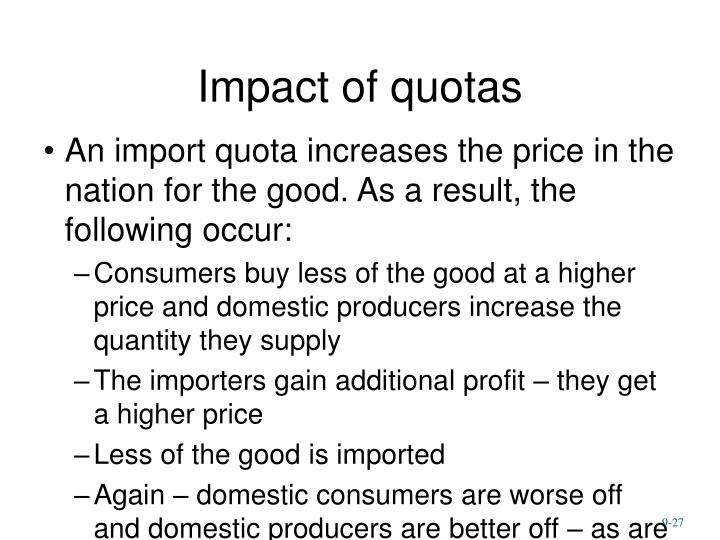 Impact of quotas