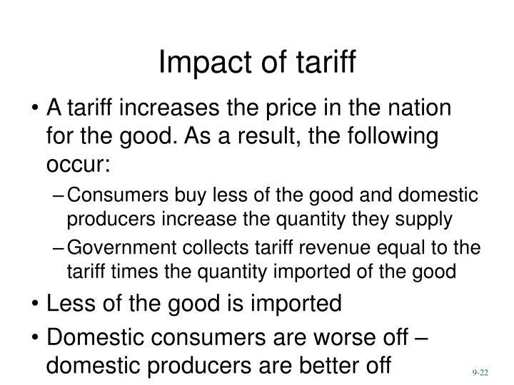 Impact of tariff