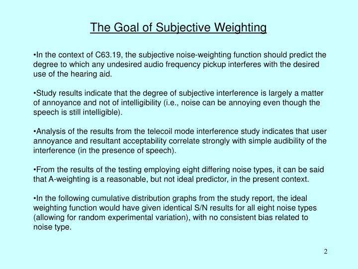 The Goal of Subjective Weighting