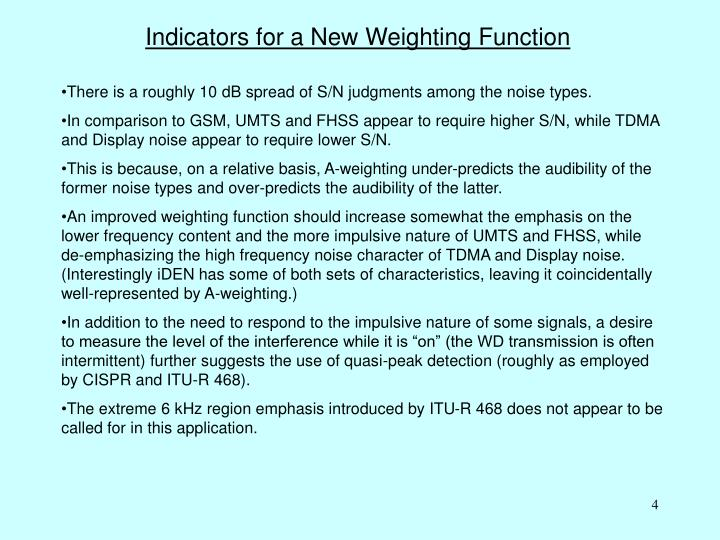Indicators for a New Weighting Function