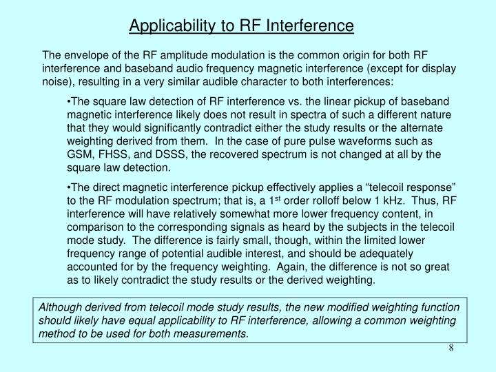 Applicability to RF Interference