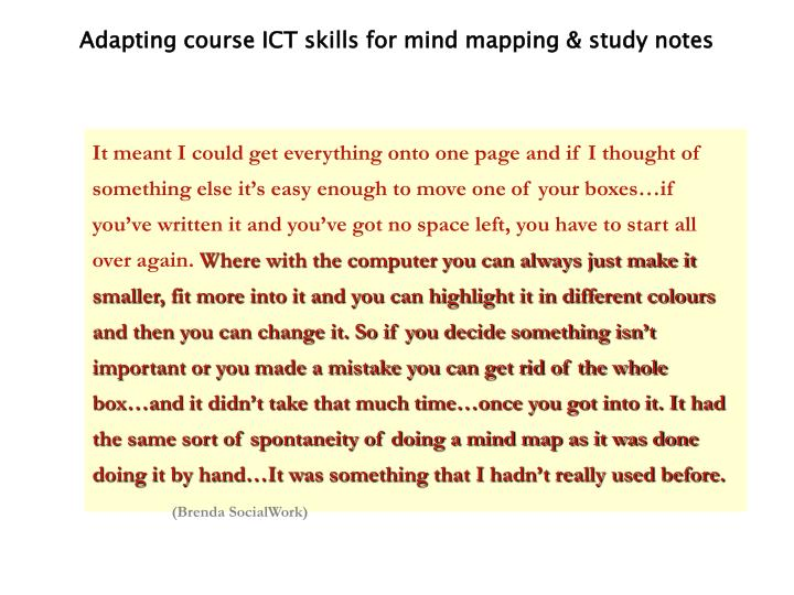Adapting course ICT skills for mind mapping & study notes