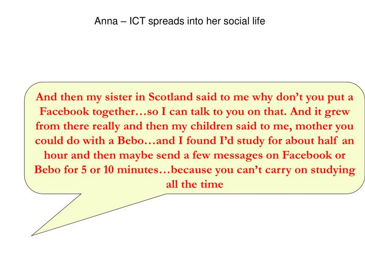 Anna – ICT spreads into her social life