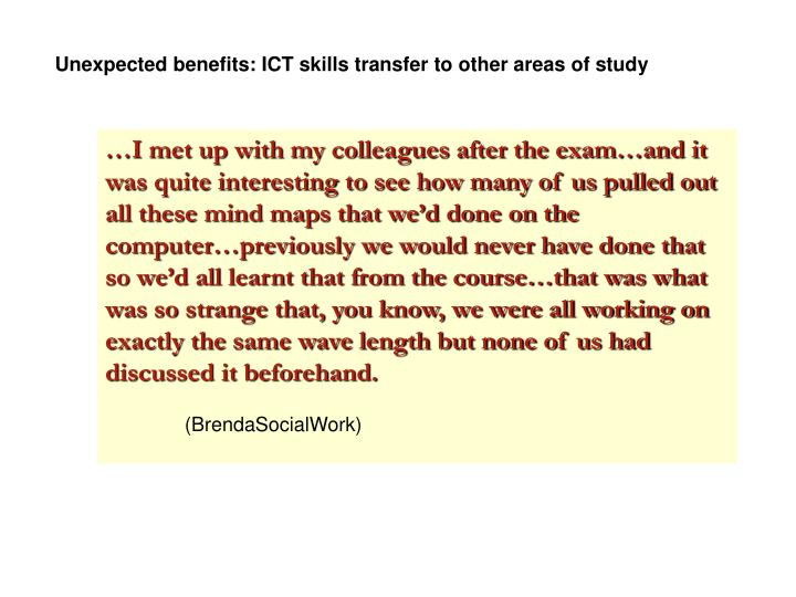 Unexpected benefits: ICT skills transfer to other areas of study