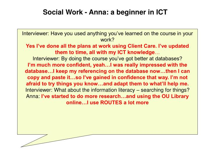 Social Work - Anna: a beginner in ICT