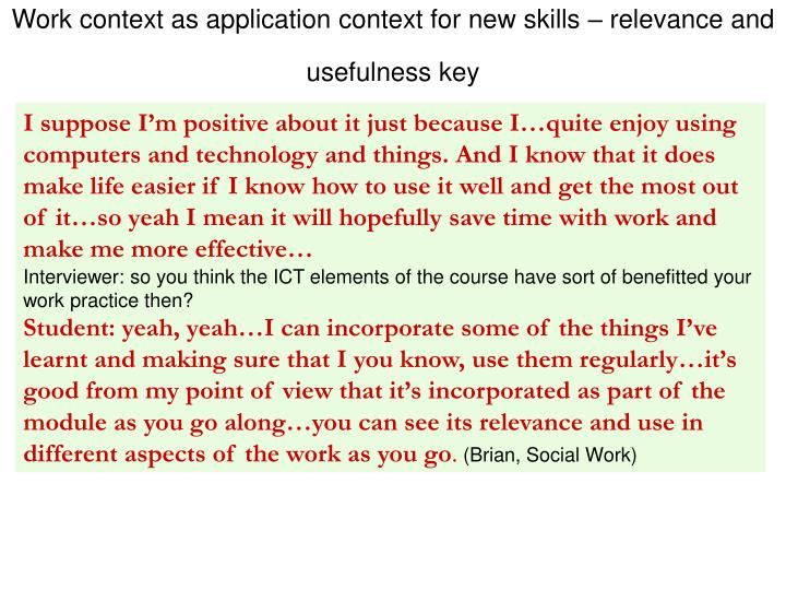 Work context as application context for new skills – relevance and usefulness key