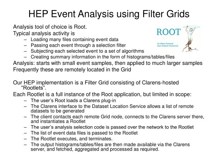HEP Event Analysis using Filter Grids
