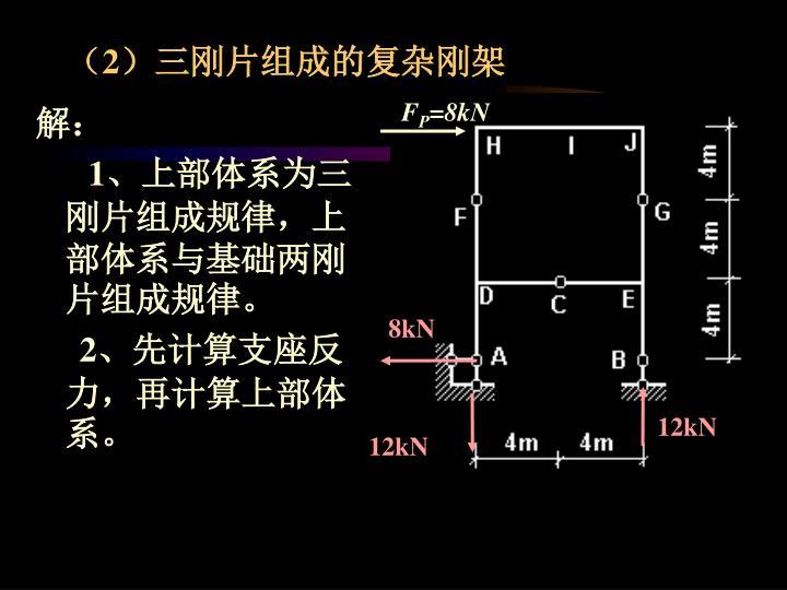 (2)三刚片组成的复杂刚架