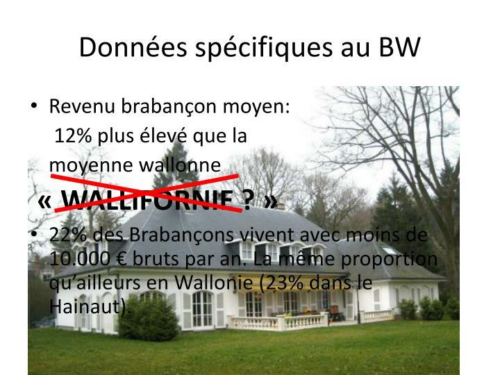 Données spécifiques au BW