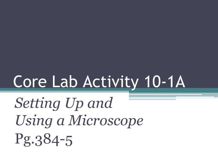 Core Lab Activity 10-1A