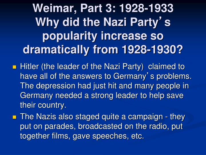 Weimar, Part 3: 1928-1933