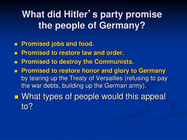 What did Hitler