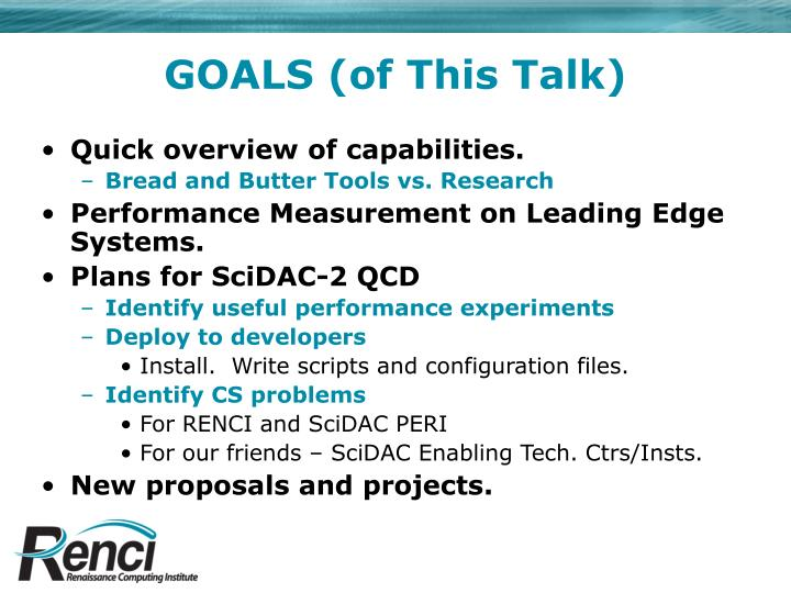 Goals of this talk