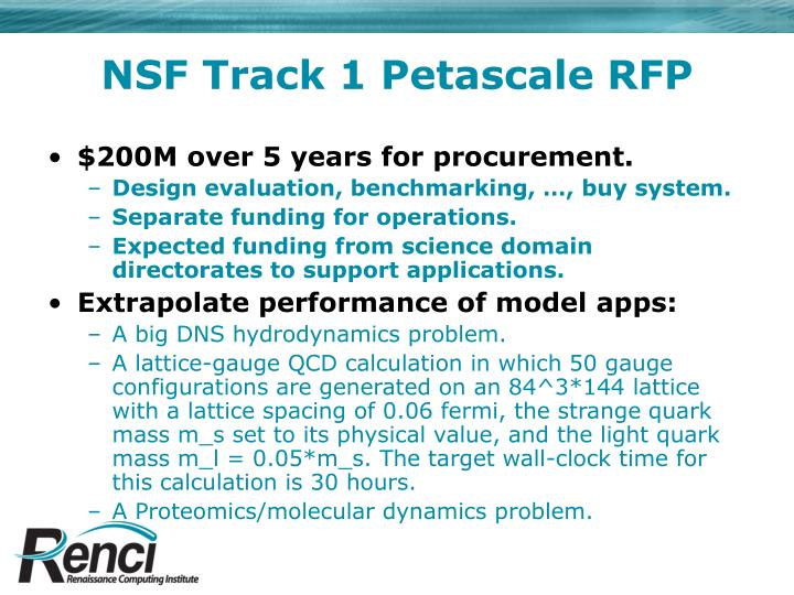 NSF Track 1 Petascale RFP
