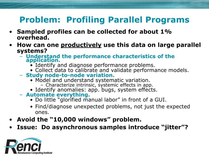 Problem:  Profiling Parallel Programs
