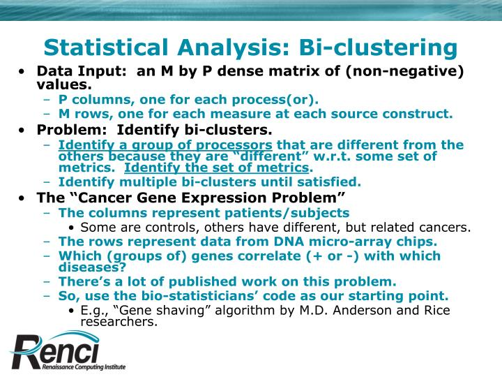 Statistical Analysis: Bi-clustering